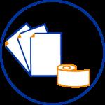 Papier, bobines, listing, étiquettes