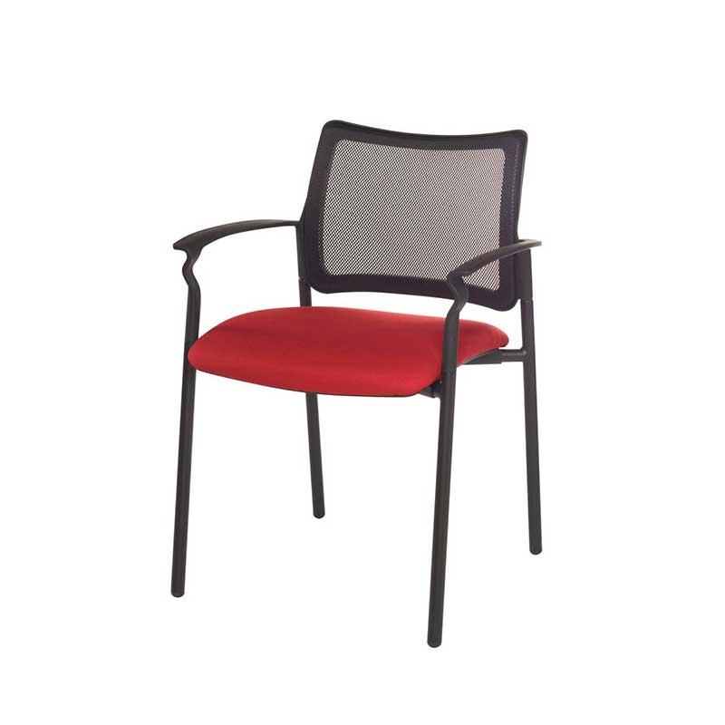 Chaise de réunion avec accoudoirs rouge